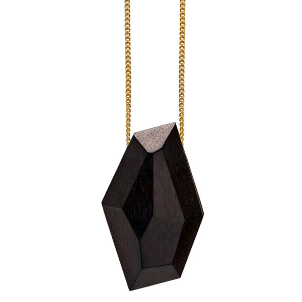 Faceted black wood bead pendant - gold