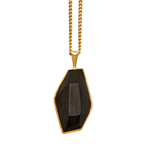 BLACK WOOD FOLI PENDANT – GOLD