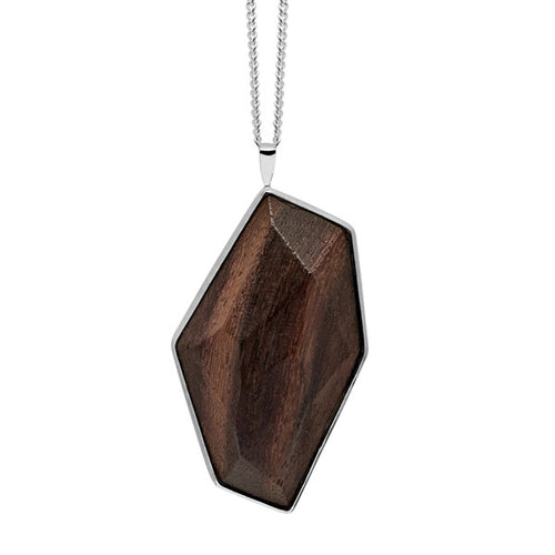 Faceted wood and silver pendant