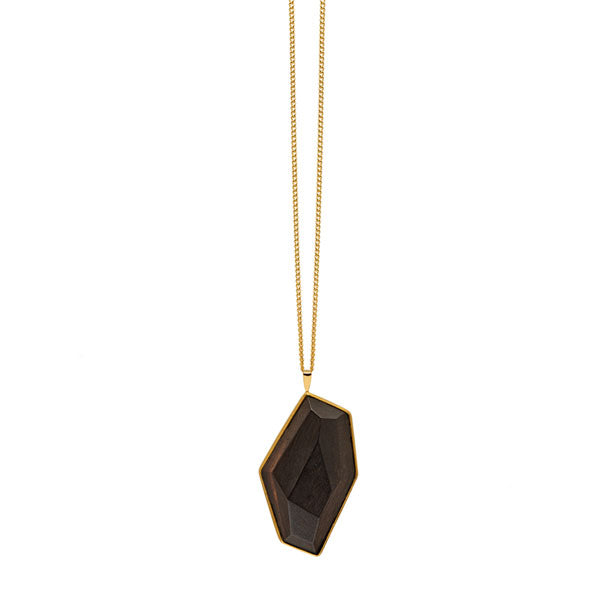 Faceted wood and gold pendant