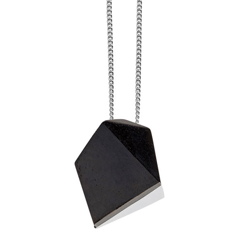 Black wood faceted pendant - Silver