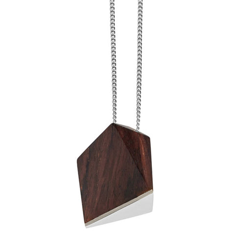 Rosewood faceted pendant - Silver