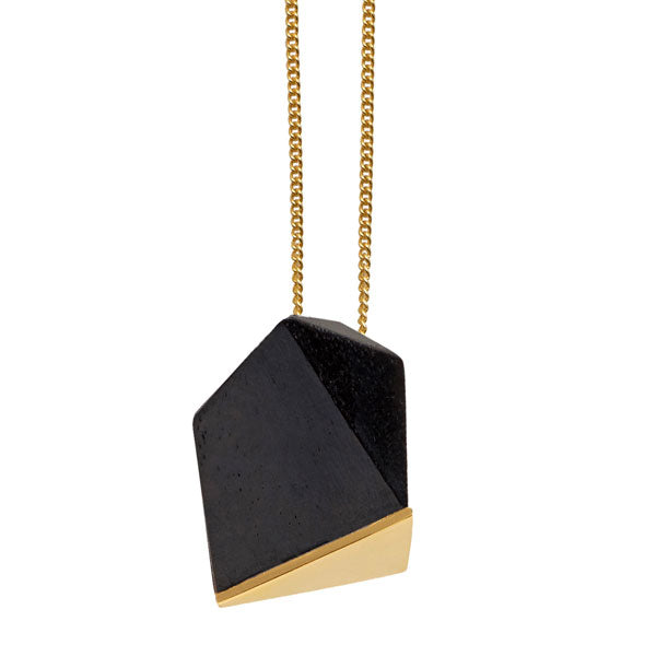 Black wood faceted pendant - Gold