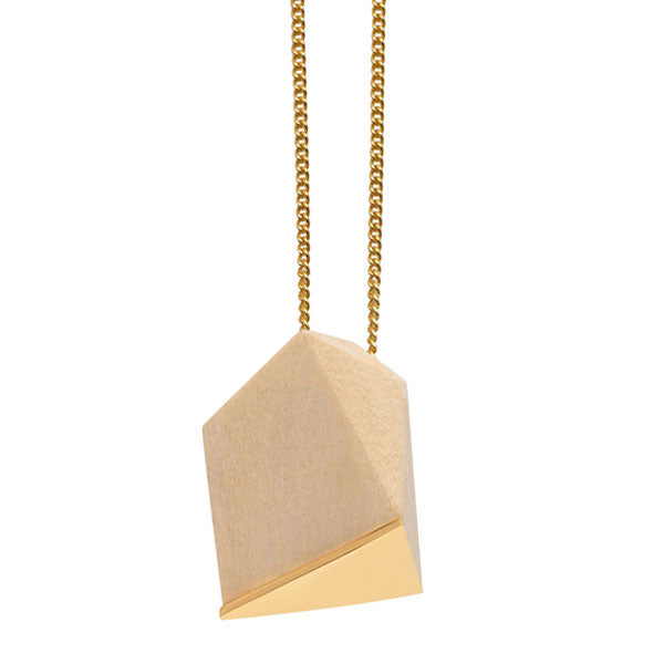 White wood faceted pendant - Gold