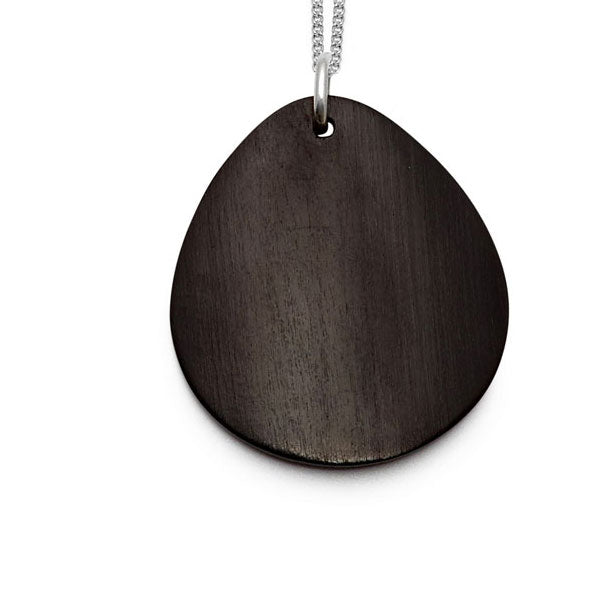 Blackwood curved oval Foli pendant – Silver