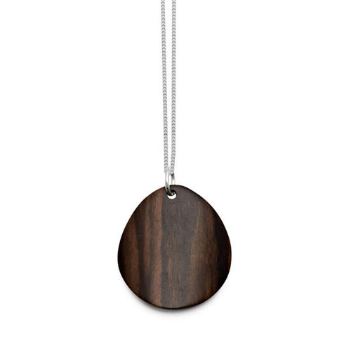 Branch Jewellery - Curved oval brown wood pendant on gold chain