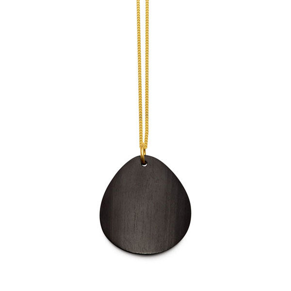 Branch Jewellery - Curved oval black wood pendant on gold chain