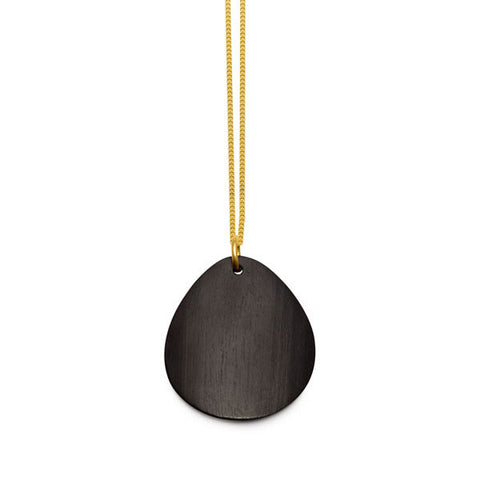 Small black wood round spike pendant - Silver