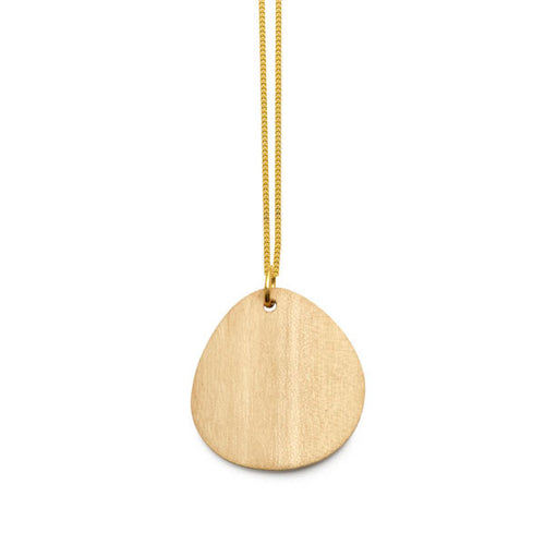 Branch Jewellery - Curved oval white wood pendant on gold chain