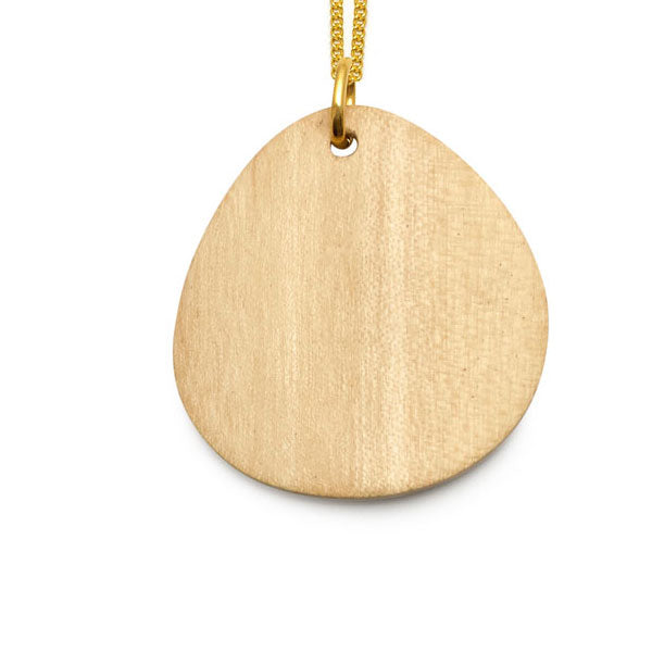 Whitewood curved oval Foli pendant – Gold