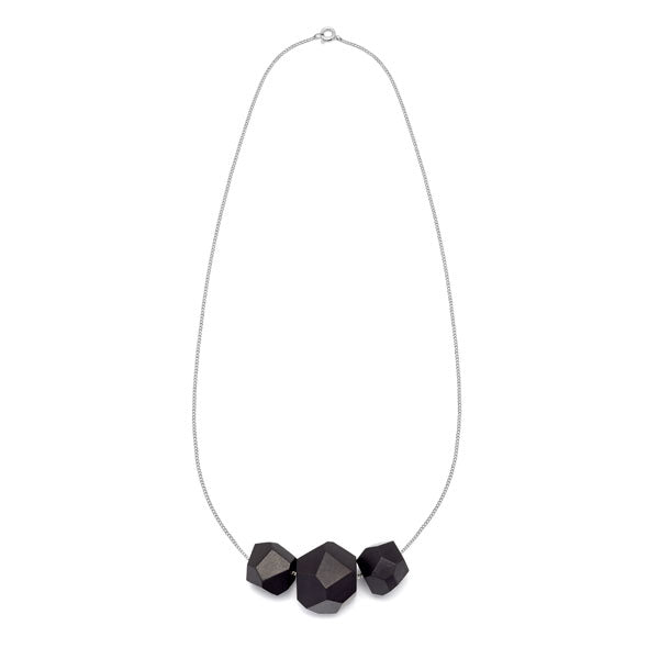 Faceted Black wood multi bead pendant - Silver