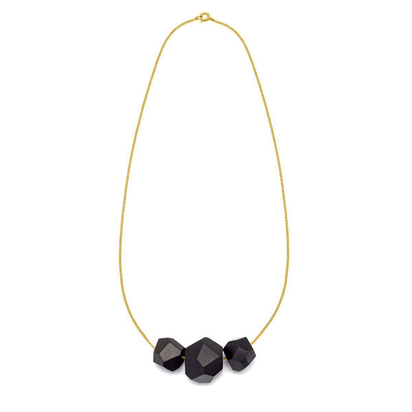 Faceted Black wood multi bead pendant - Gold