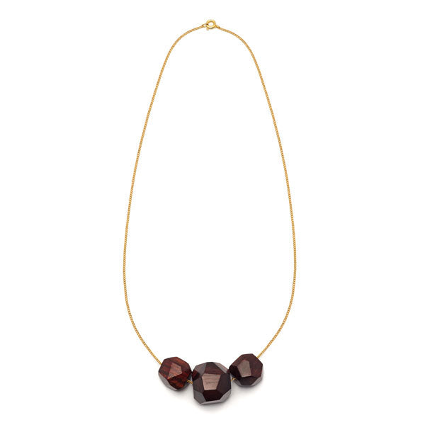 Faceted Rosewood multi bead pendant - Gold