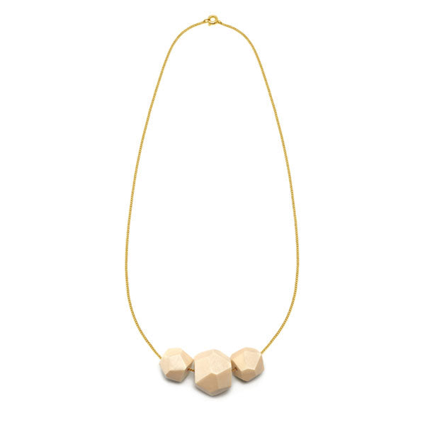 Faceted White wood multi bead pendant - Gold