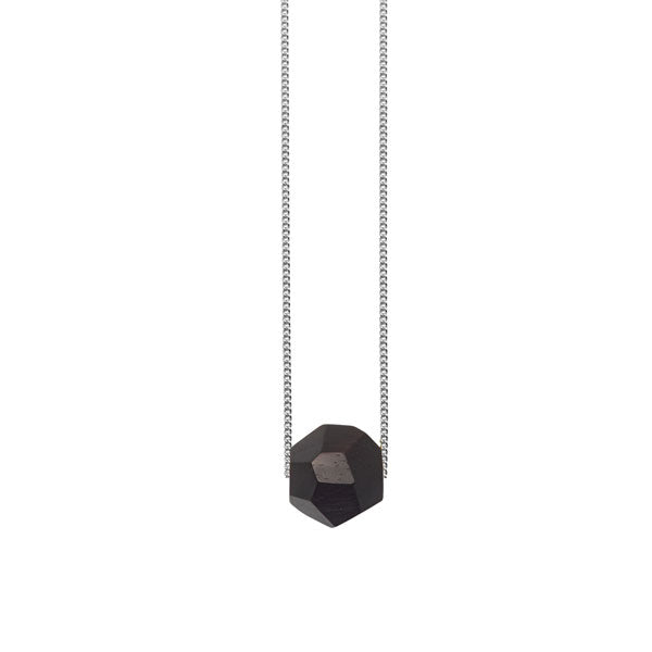 Black wood faceted ball bead pendant - Silver