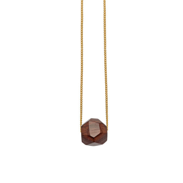 Rosewood faceted ball bead pendant - Gold