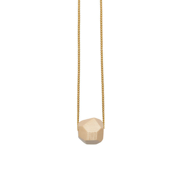 White wood faceted ball bead pendant - Gold