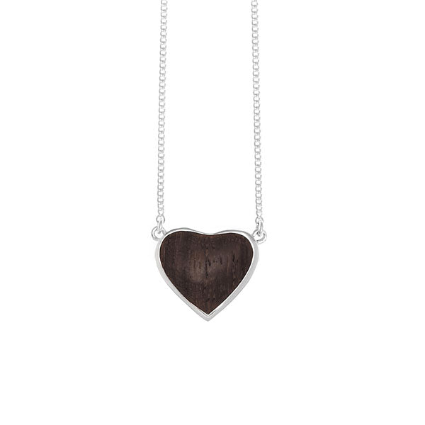 heart shaped silver and wood pendant