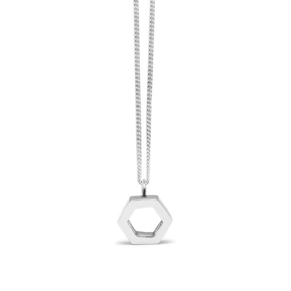 silver hexagon pendant