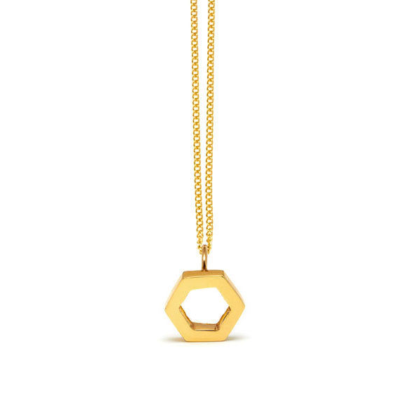 gold plated hexagon pendant