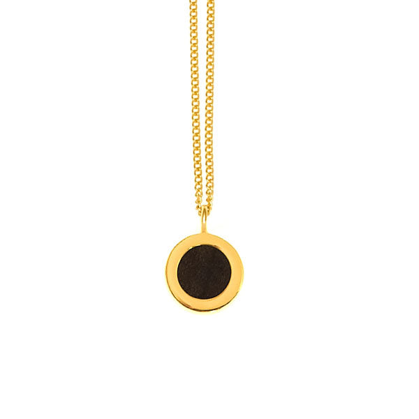 Rosewood & Gold plate disc pendant