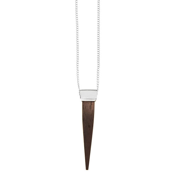 Rosewood and silver spike pendant