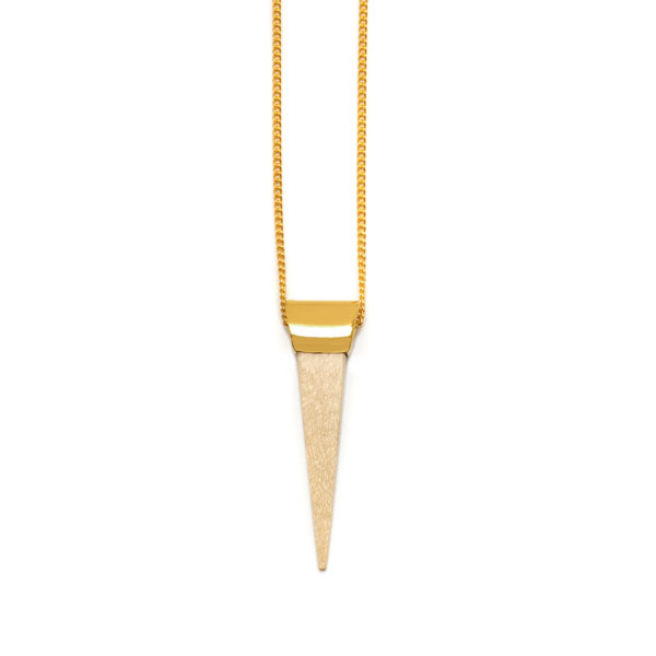 White wood and gold plated spike pendant