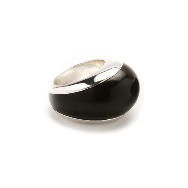 Silver lined Black Wood ring