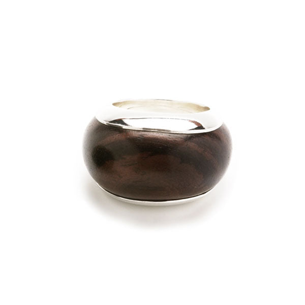 Silver lined Rosewood ring