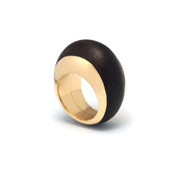 Branch Jewellery - Gold plated silver lined rounded black wood statement ring