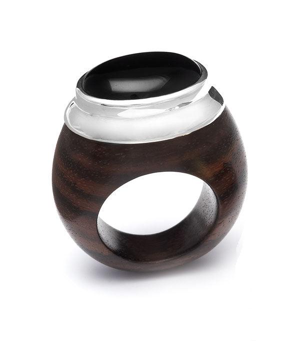 Oval Black Onyx and Rosewood ring