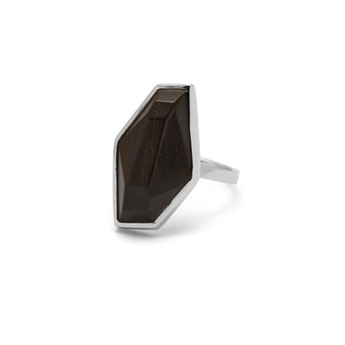 Small faceted Rosewood silver ring