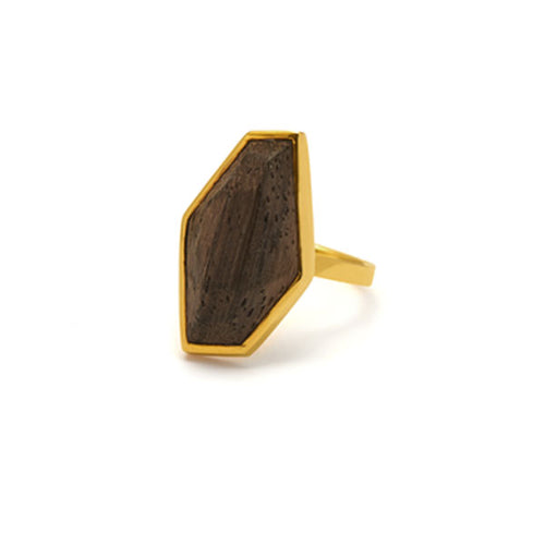 Small faceted Rosewood gold ring