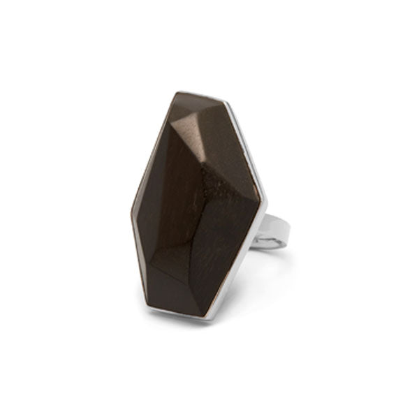 Faceted Rosewood and silver ring