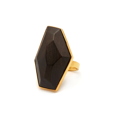 Faceted Rosewood and gold plated silver ring