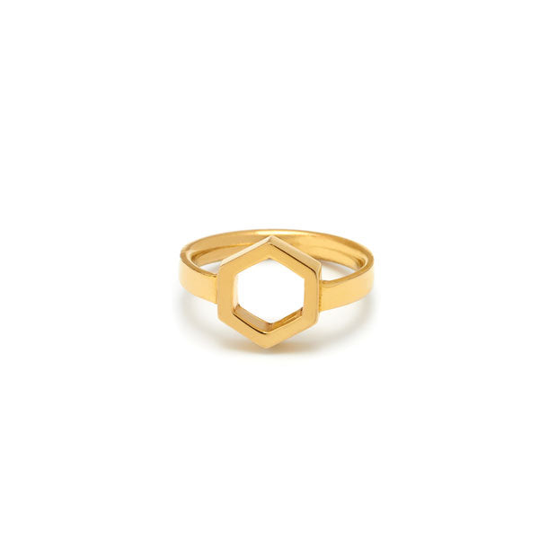 open gold plated hexagon ring