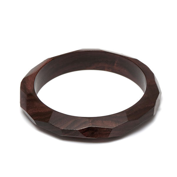 Branch Jewellery - Brown wood faceted edge bangle