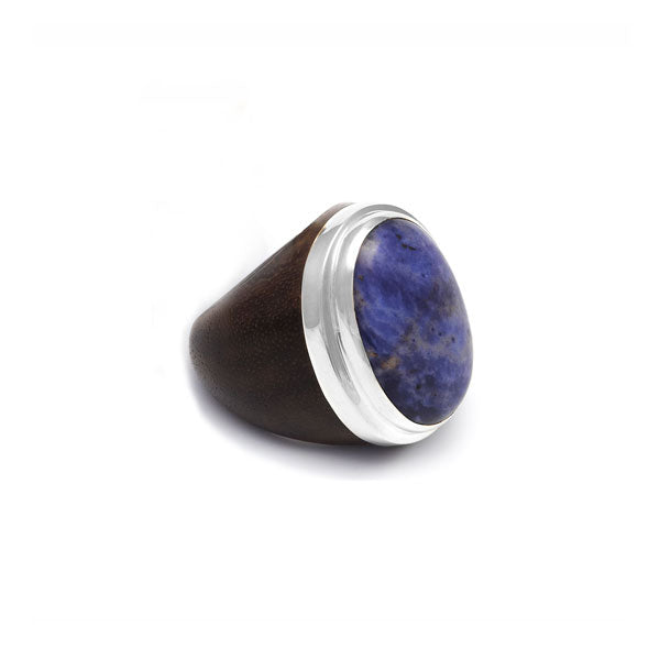 Rosewood, silver and Blue Quartz Oval ring