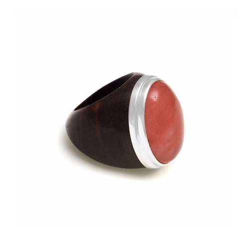 Rosewood, silver and Cherry Quartz Oval ring