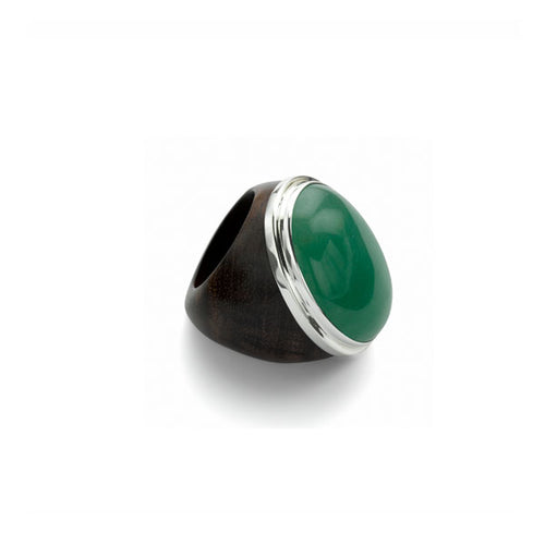 Rosewood, silver and Green Aventurine Oval ring