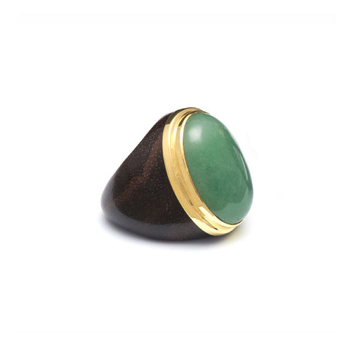 Rosewood, gold plate and Green Aventurine Oval ring