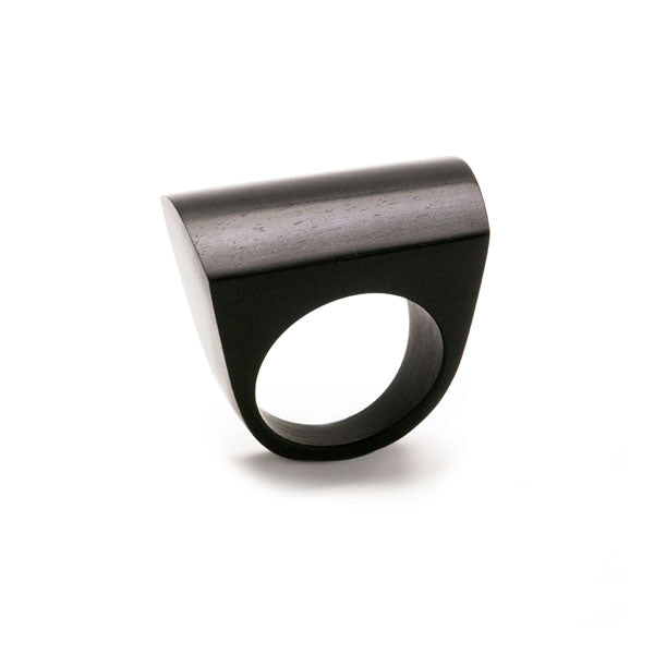 Branch Jewellery - Curved top statement black wood ring
