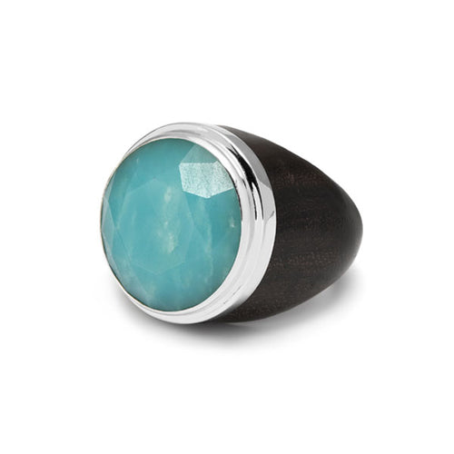 Round Amazonite silver plated rosewood ring
