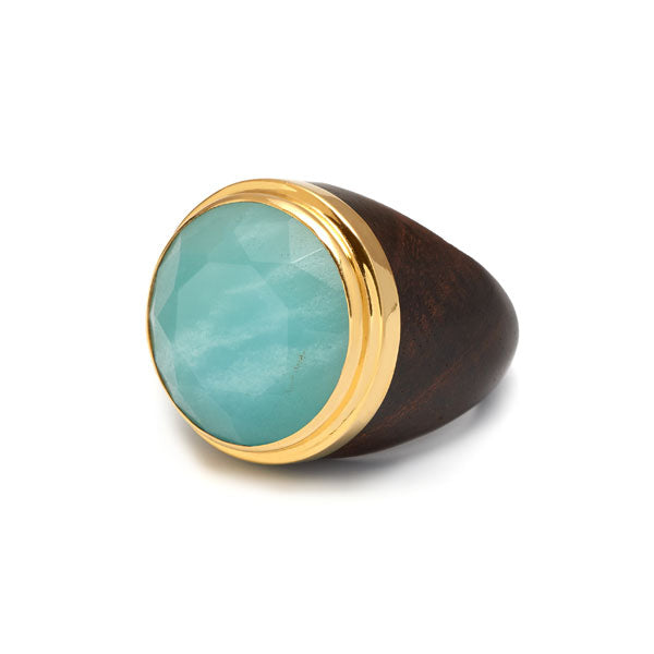 Round Amazonite gold plated rosewood ring