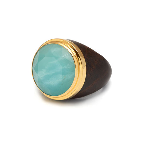 Round buffalo horn ring - Blue