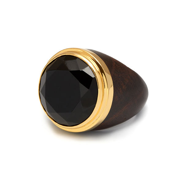 Round Black Onyx Gold Plated ring