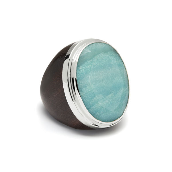 Oval Blue Stone, Silver and Rosewood ring