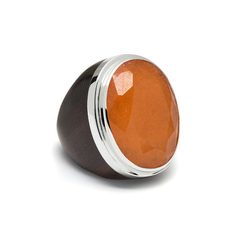 Round Orange Jade decorative Valencia ring - Silver