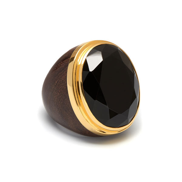 Black Onyx and gold plated rosewood ring