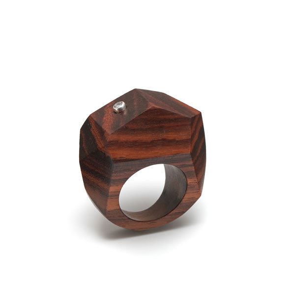 Branch Jewellery - Brown wood faceted statement ring with crystal stone set in silver